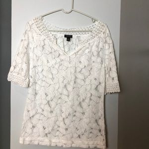 Lace white top never worn